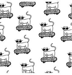 cat in sunglasses on skateboard seamless pattern vector image
