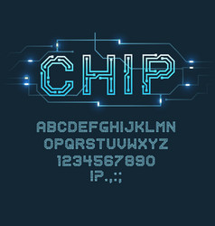 Chip type font alphabet letters and digits vector