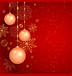Christmas red background with ball and snowflakes vector