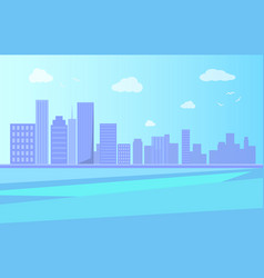 city landscape with river and skyscrapers vector image