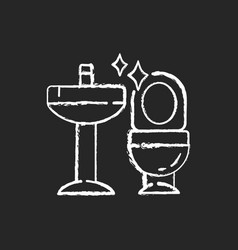 Cleaning bathroom chalk white icon on black vector