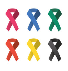 Collection of 6 color awareness ribbons vector