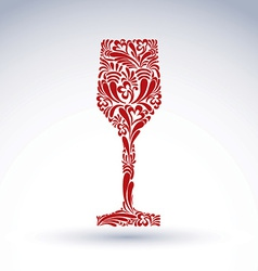 Creative goblet with floral ethnic pattern vector image