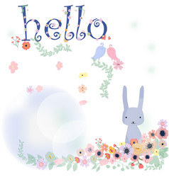 cute rabbit in flower bush vector image