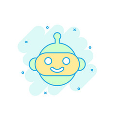 cute robot chatbot icon in comic style bot vector image