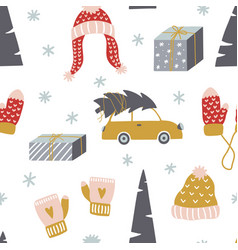 cute winter seamless pattern design template for vector image