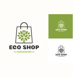 eco shop logo consisting shopping bag and tree vector image