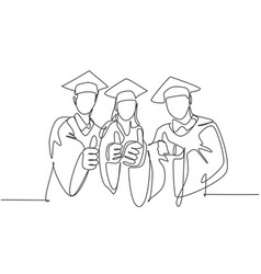 education graduating concept one line drawing vector image