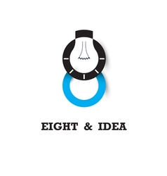 Eight number icon and light bulb abstract logo vector