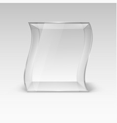 Empty glass showcase in wave form for presentation vector