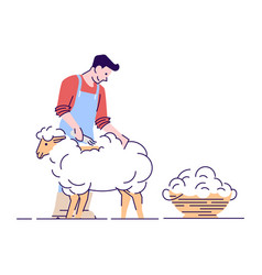 Farmer shearing sheep flat character wool vector