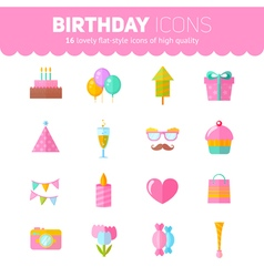 Festive birthday flat icons set vector
