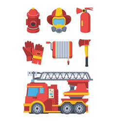 firefighter service set fire extinguishing vector image