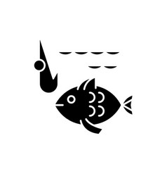 Fishery black icon sign on isolated vector