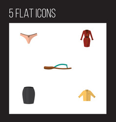 Flat icon garment set of lingerie stylish apparel vector