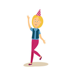 flat woman dancing in party hat vector image