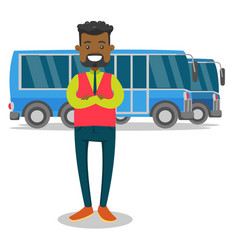 full length of young black bus driver vector image