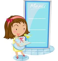 Girl and menu vector