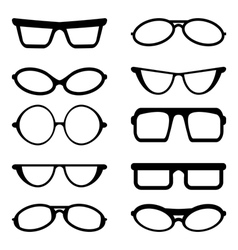 Glasses and Sunglasses silhouettes vector image