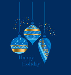gold and blue bauble xmas design element vector image