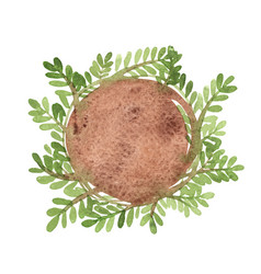 Green leaf tree wreath banner watercolor vector