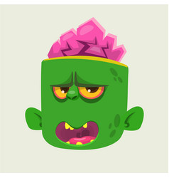 Green zombie head with brains vector
