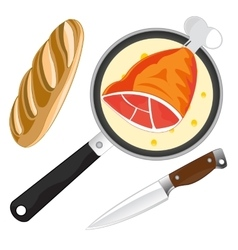 Griddle with meat vector
