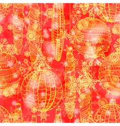 Grunge red winter seamless pattern vector image