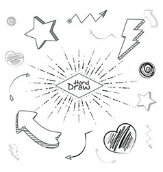 hand draw shapes and cartoons vector image