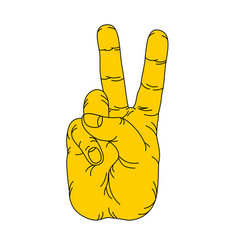 Hand gesture two fingers in vector
