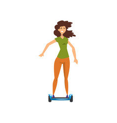 Happy girl riding on hoverboard vector