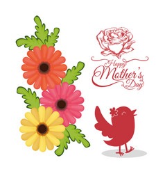Happy mothers day invitation card with bird vector