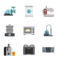 Home appliances icons set flat style vector