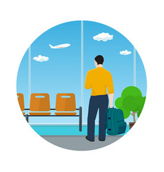 Icon airport waiting room with man vector