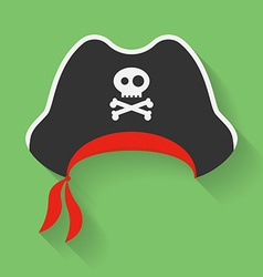 Icon of Pirate Hat with a Jolly Roger symbol vector image