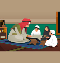 Imam reading quran with his students vector