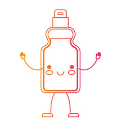 Kawaii cartoon detergent bottle in degraded yellow vector