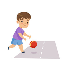 Little boy playing ball on road kid in dangerous vector