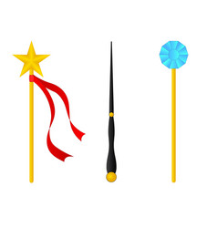 magic wand set isolated on white background vector image