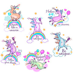 Magical cute unicorn stickers vector