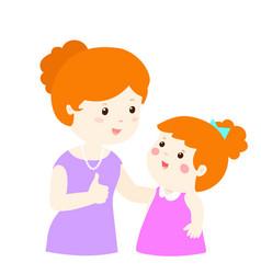 Mother admire daughter character cartoon xa vector