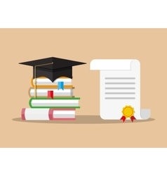 paper diploma with stamp books and graduation cap vector image