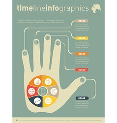 Part of the report with human hand and icons set vector image