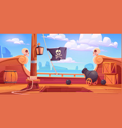 pirate ship wooden deck onboard view with cannon vector image