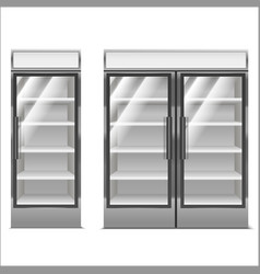 realistic detailed 3d supermarket freezer set vector image