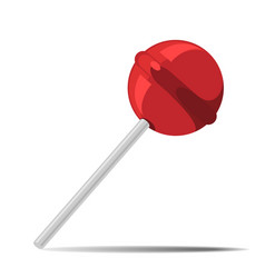 Red candy on stick with shadow nice vector