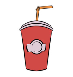 Red cardboard cup with a straw icon cartoon vector