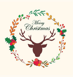 Reindeer christmas floral wreath with quote design vector