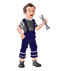 repairman holding spanner vector image