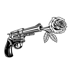 revolver with rose vector image